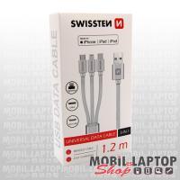 Adatkábel univerzális 3in1 Lightning/ Micro USB / USB Type-C szövethálós 1,2m ezüst SWISSTEN