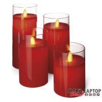 Emos ZY2289 7.5x10/12.5/15/17.5cm/Vintage/piros/üveg LED gyertya