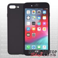 """Szilikon tok Apple iPhone 7 Plus / 8 Plus 5,5"""" 2in1 üvegfóliával fekete (elő + hátoldal)"""
