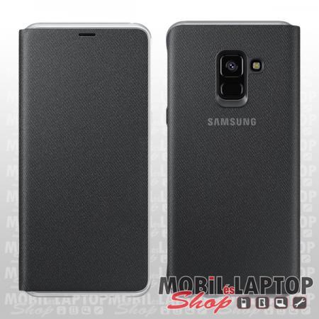 Flippes tok Samsung A530 Galaxy A8 (2018) oldalra nyíló fekete neon értesítő csík EF-FA530PBEGWW